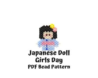 Brick Stitch Japanese Doll Girls Day Bead Pattern, Hinamatsuri Miyuki Charms, PDF Digital Download