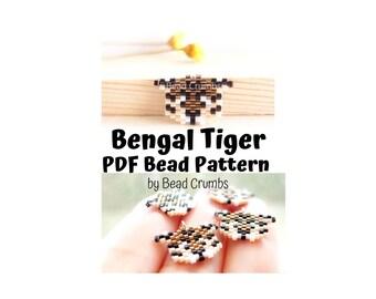 Brick Stitch Mini Bengal Tiger, Miyuki Seed Bead Pattern, PDF Digital Download