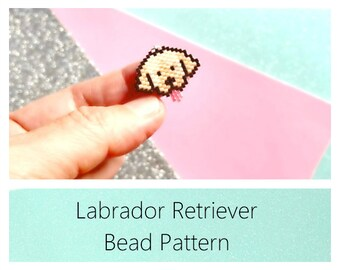 Brick Stitch Charm Pattern: Yellow Labrador Retriever Dog, Miyuki Delica Beads