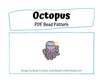 Beading Pattern Octopus Charm, Brick Stitch Miyuki Delica, PDF Digital Download