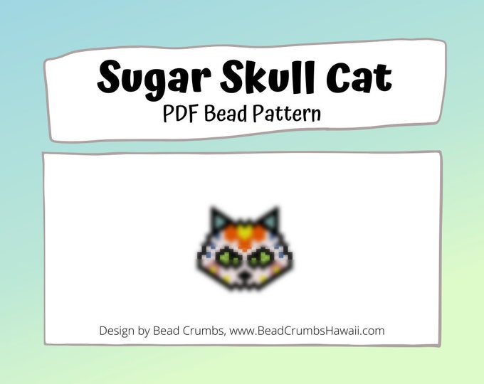 Sugar Skull Cat - Peyote / Brick Stitch Earring Charm Pattern, Day of the Dead, Digital File