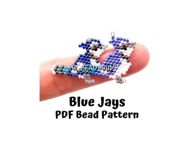 Two Blue Jays Brick/Peyote Stitch Bird Bead PATTERN, DIY Craft Seed Bead Charm, PDF Digital Download