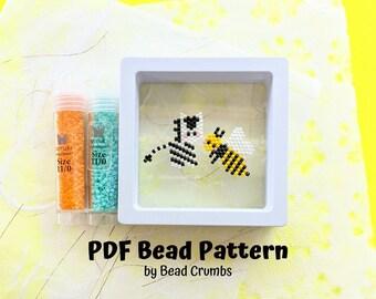 Yellowjacket Zebra Brick Stitch Bead PATTERN, Miyuki Charm Diagram, Alphabet Buddies PDF Digital Download