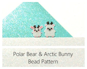 Brick Stitch Bead Pattern, Miyuki Delica : Arctic Bunny & Polar Bear with Reindeer Antlers