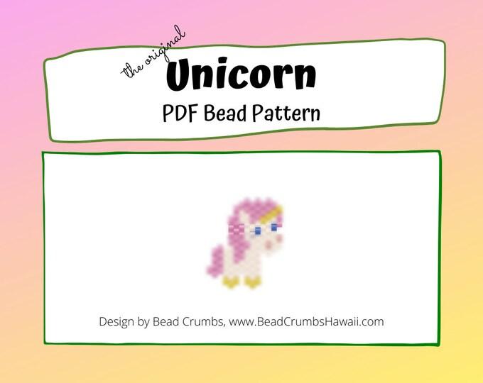 Brick Stitch Bead Pattern: Original Unicorn Charm, PDF Digital Download