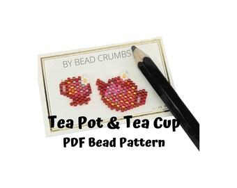 Brick Stitch Teapot and Teacup Bead Pattern, Strawberry Miyuki Charms, PDF Digital Download
