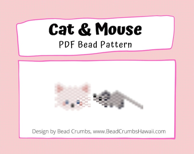 Cat and Mouse Brick Stitch Bead Pattern, DIY Beading Craft, PDF Digital Download
