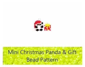 Mini Christmas Panda & Polka Dot Present Brick Stitch PATTERN | DIGITAL FILE
