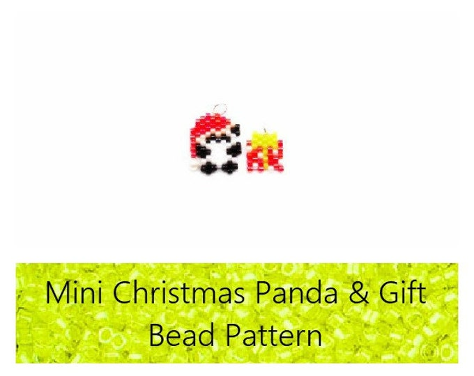 Mini Christmas Panda & Polka Dot Present Brick Stitch PATTERN | DIGITAL FILE