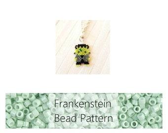 Frankenstein Brick Stitch Bead Pattern, Halloween Charm | DIGITAL DOWNLOAD