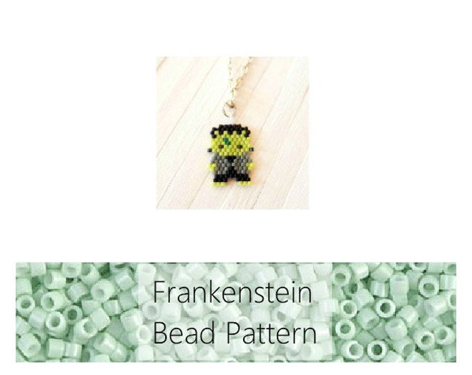 Frankenstein Brick Stitch Bead Pattern, Halloween Charm | DIGITAL DOWNLOAD