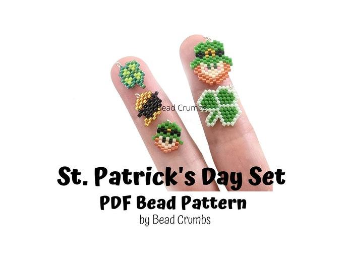 St Patricks Day Set Brick Stitch Bead Pattern, PDF Digital Download
