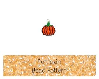 Bead Pattern Brick Stitch Pumpkin, Seed Bead Pumpkin, Miyuki Delica Seed Beads, Halloween Bead Weaving PATTERN