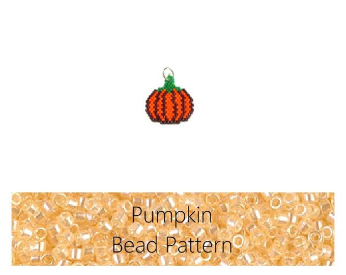 Bead Pattern Brick Stitch Pumpkin, Seed Bead Pumpkin, Miyuki Delica Seed Beads, Halloween Bead Weaving PATTERN