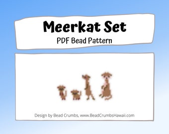Meerkat Set, Brick or Peyote Stitch Animal Bead Weaving Pattern | Digital Download