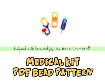 Brick Stitch Stethoscope, Bandage, Syringe Bead PATTERN, Medical Kit | Printable Digital Download