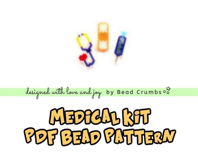 Brick Stitch Stethoscope, Bandage, Syringe Bead PATTERN, Medical Kit | Printable Digital Download