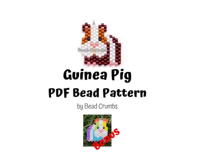 Guinea Pig Beading PATTERN, Cute Brick Stitch Animal, DIY Seed Bead Charm, PDF Digital Download