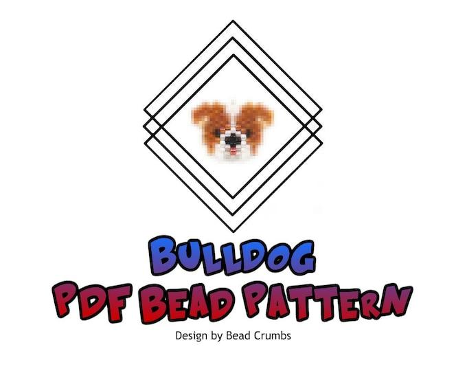 Brick Stitch Bulldog, Miyuki Seed Bead Dog Pattern, PDF Digital Download