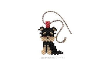 Yorkshire Terrier Dog, Bag Notebook Planner Charm, Hand Stitched Miyuki Beads, Stainless Steel Ball Chain