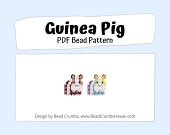 Guinea Pig Beading PATTERN, Cute Brick Stitch Animal, DIY Seed Bead Charm, PDF Digital Download