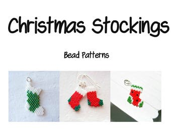 Christmas Stockings Beading Patterns, Brick Stitch | DIGITAL DOWNLOAD