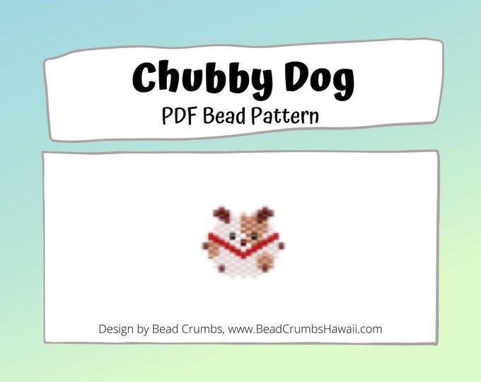 Cute Chubby Dog Brick Stitch Bead PATTERN, Miyuki Delica Beads