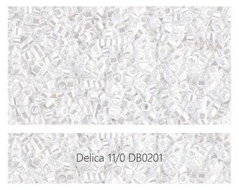 DB0201 White Pearl Ceylon, Miyuki Delica Beads, Size 11/0, Mini 1 Gram Bag
