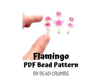 Pink Flamingo Bird Set Bead Pattern, Animal Brick or Peyote Stitch Beading   DIGITAL DOWNLOAD