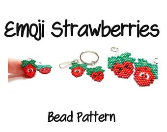 Emoji Strawberries - Seed Bead PATTERNS, Kawaii Fruits, Peyote/Brick Stitch Beading