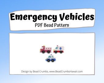 Fire Truck, Ambulance, Police Car - Emergency Vehicles Bead Patterns, PDF Digital Download