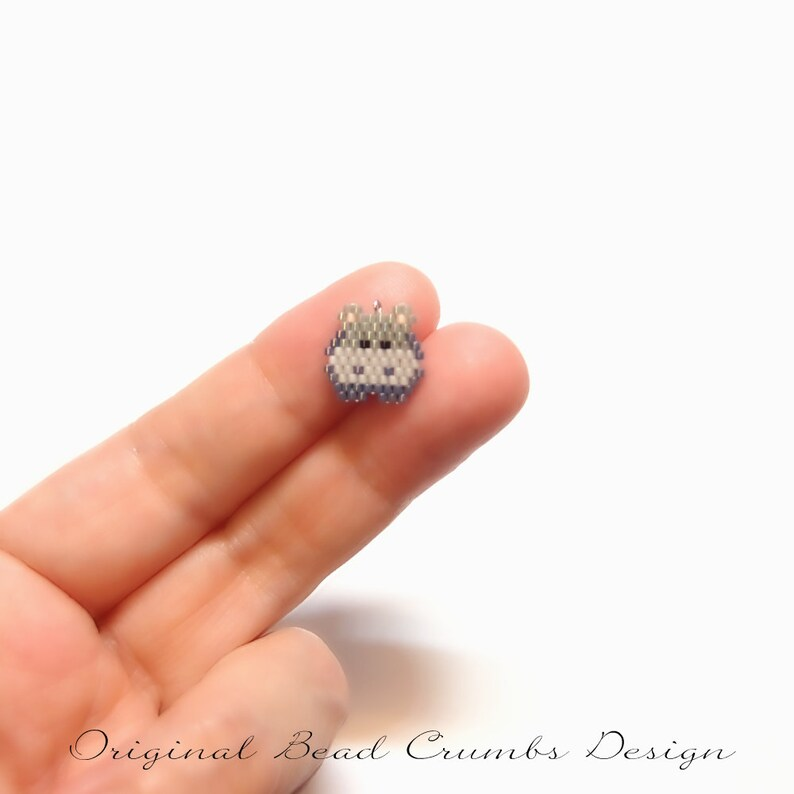 Micro Hippo Seed Bead Charm with Optional Brick Stitch Pattern Charm Only