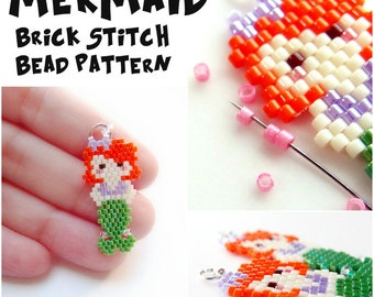 Mermaid - Bead Weaving PATTERN for Seed Bead Earrings, Pendants, Charms - Brick Stitch