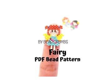 Fairy Bead Pattern, Brick or Peyote Stitch Bead Weaving Miyuki Charm| Digital Download
