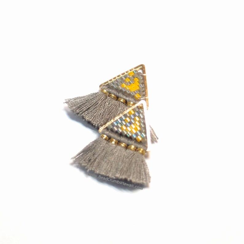Moon and Stars Hand Beaded Tassel Pendant / Charm 1 Piece image 0