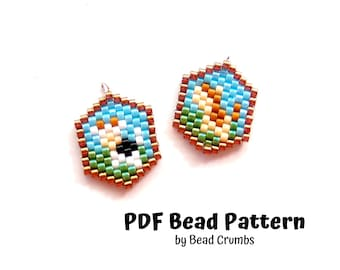 Brick Stitch Bead Patterns, Cow and Horse Mini Medallion Charms,  PDF Digital Download P2134915