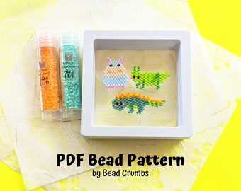 Grasshopper Hippo Iguana Brick Stitch Bead PATTERN, Miyuki Charm Diagram, Alphabet Buddies PDF Digital Download