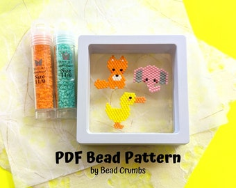 Duck Elephant Fox Brick Stitch Bead PATTERN, Miyuki Charm Diagram, Alphabet Buddies PDF Digital Download
