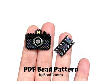 Bead Pattern Camera and Film Set, Miyuki Brick Stitch Charm, PDF Digital Download - P2167008