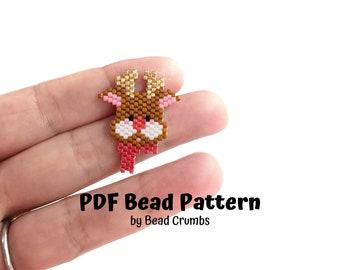 Bead Pattern Red Nose Reindeer, Miyuki Brick Stitch Charm, PDF Digital Download - P2166541