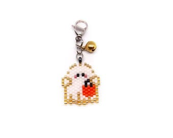 Halloween Ghost Seed Bead Charm