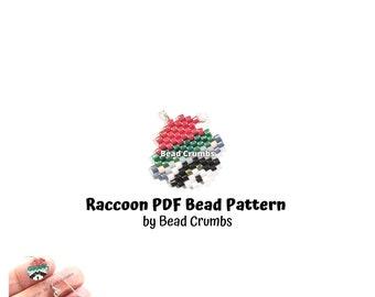 Christmas Brick Stitch Raccoon Bead Pattern, PDF Digital Download