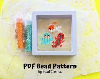 Manatee Newt Oranda Brick Stitch Bead PATTERN, Miyuki Charm Diagram, Alphabet Buddies PDF Digital Download