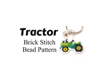 Tractor Seed Bead Pattern, Brick Stitch | JPG DOWNLOAD