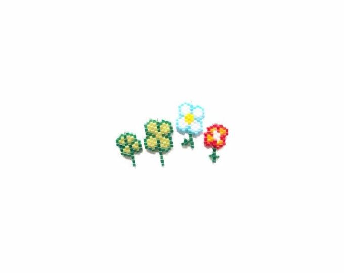 Mini 4 Leaf Clovers and Flower Brick Stitch Bead Patterns | DIGITAL DOWNLOAD