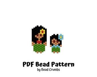 Bead Pattern Hula Girls, Peyote or Brick Stitch Beading, Miyuki Delica Charms - Digital Download P2139748