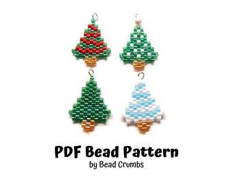 Bead Pattern Christmas Trees, Peyote or Brick Stitch Beading, Miyuki Charms - PDF Digital Download P2127091