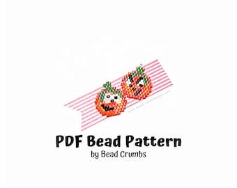 Beaded Jack O Lantern Brick Stitch PATTERN, Cute DIY Halloween Earring Jewelry Charms, PDF Digital Pattern