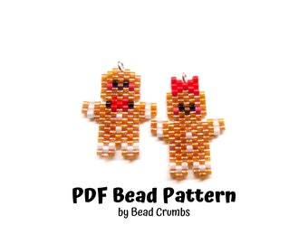 Gingerbread Bead Pattern, Peyote or Brick Stitch Beading, Christmas Miyuki Charms - Digital Download
