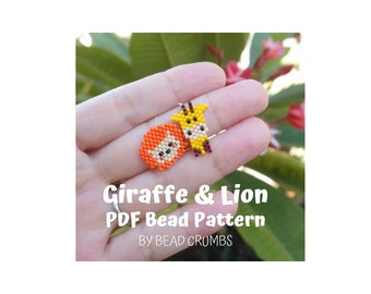 Miyuki Diagram Giraffe and Lion Brick Stitch Animal Charms, Bead Pattern, PDF Digital File